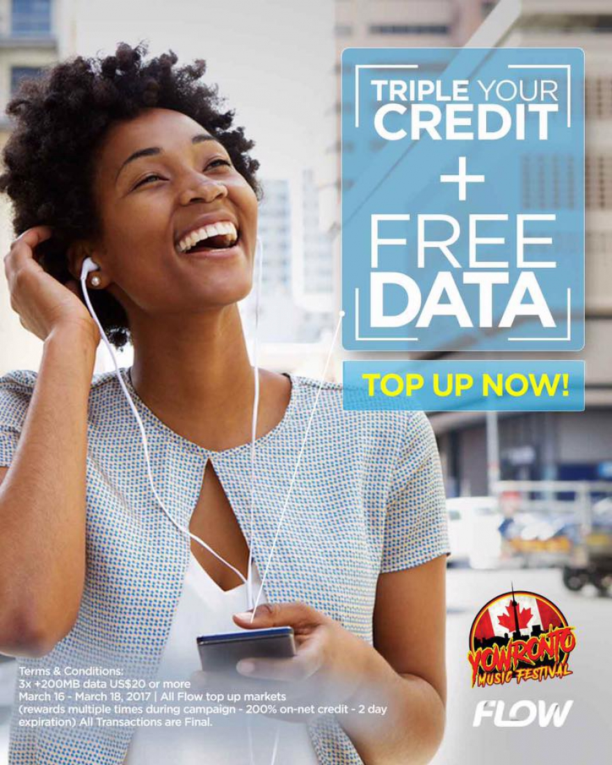 Triple Your Credit Plus Free Data With FLOW #Topup - Get More Deals At @YOWronto Music Festival #tessannechin @matrixthinker #deals #canada150
